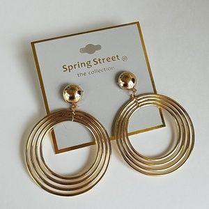 Spring Street Gold Dangle Hoop Earrings